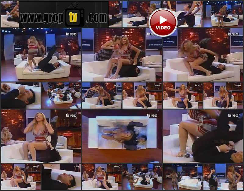 Presenter touch blonde model at his own tv show